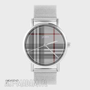 Prezent Zegarek, bransoletka - Szkocka krata metalowy, zegarek,