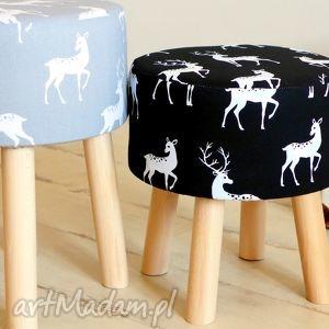 Stołek Fjerne M (szary jeleń), puf, stołek, taboret, dekoracja