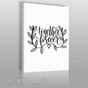 napis na płótnie - together forever 50x70 cm 56820, tekst, napis, czarno-biały