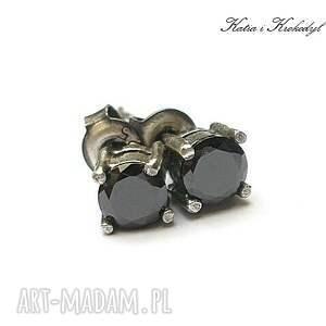 Kropeczki /black/ - kolczyki sztyfty, cyrkonie, srebro, delikatne, glamour, sztyfty