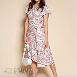 kopertowa sukienka z asymetrycznym dołem - suk198 różowy wzór, wiązana