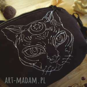 nerka mini mystic cat, mała nerka, saszetka, torebka czarna, kot, kotek