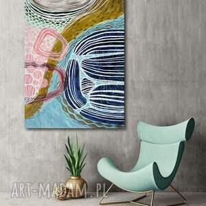 obraz ręcznie malowany na płótnie - abstrakcja, obraz, akryl, malarstwo, abstrakcja