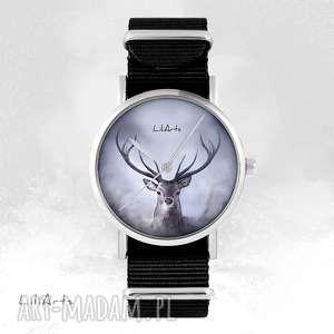 ręcznie robione zegarki zegarek - jeleń czarny, nato, unisex