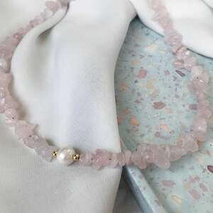 naszyjniki choker - kwarc różowy, choker, prezent dla przyjaciółki