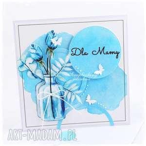 bukiet w butelce - kartka dla mamy mama, kwiaty, butelka, motyle