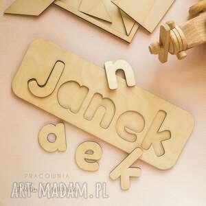 puzzle, układanka - imię, puzzle drewniane, układanka, dopasuj kształty, literki