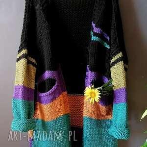wełniany sweter, kardigan, wełnianysweter, kolorowykardigan, na drutach