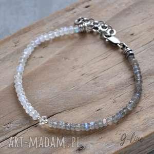 ręcznie wykonane bransoletki kamień księżycowy, labradoryt i diamencik z herkimer. delikatna srebrna bransoletka