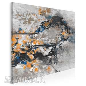 obraz na płótnie - abstrakcja nowoczesny pomarańczowy w kwadracie 80x80 cm