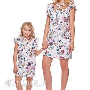 Mama i córka Sukienka z wiązaniem dla córki LD10/5, falbany, sukienka, wiązanie
