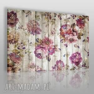 obraz na płótnie - kwiaty drewno prowansalski 120x80 cm 75601