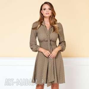 Sukienka Stella Drobny Wzór Khaki COMO, sukienka-z-szalem, wzorzysta-sukienka