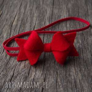 opaska do włosów z kokardką czerwona na święta, opaska, kokardka, filc