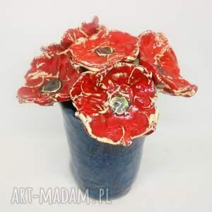 prezent duży piękny wyjątkowy komplet kwiaty 6szt wazon handmade