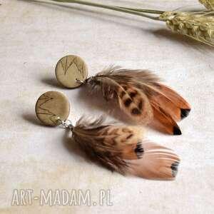 Kolczyki boho z piórami sirius92 kolczyki, boho, sztyfty