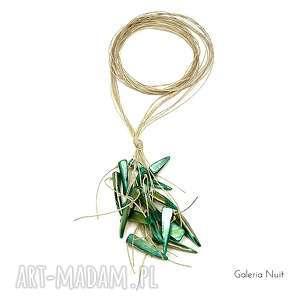 Zielony - długi naszyjnik lniany, długi, lekki, eko, boho, minimalistyczny, etno
