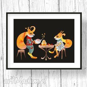 podwieczorek u wiewiórek, obraz, dziecko, wiewiórka, zwierzęta, ilustracja
