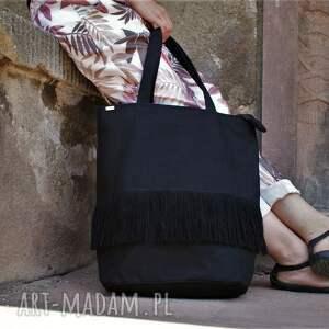 manufakturamms shopper boho czerń, vegan, lato, shopper, boho, frędzle, wakacje