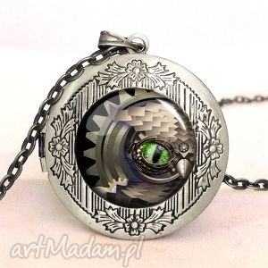 steampunk owa sowa - sekretnik z łańcuszkiem - meczaniczny, medalion