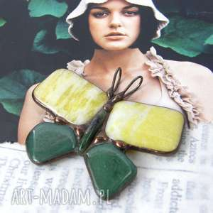 wisiorek motyl cytrynowo-zielony/nefryt i awenturyn, z kamieni, nefryt