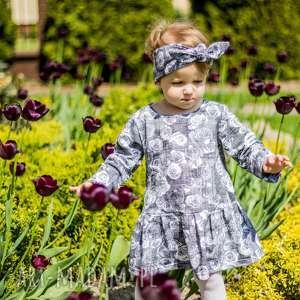 Dziewczęca sukienka - GREY ROSE rozm. 98-104, sukienka, dzianinowa, róże, kwiaty
