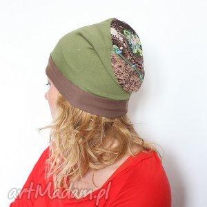 czapka dresowa w kwiaty - czapka, dresowa, dzianina, mama, kwiaty, wiosna