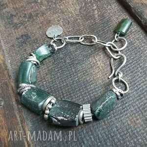 bransoletka ze srebra i szkła antycznego, szkło antyczne, afgańskie