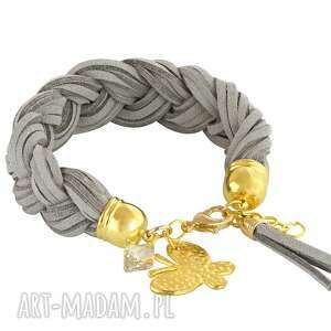 braid - grey & gold - rzemień, swarovski zamsz