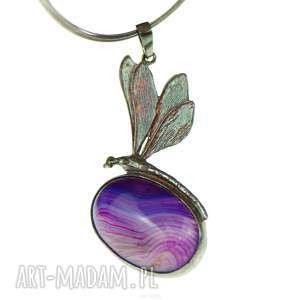 fioletowa ważka - naszyjnik srebrny a641, wisiorek z kamieniem, elegancki