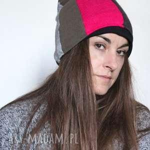 Czapka zimowa patchworkowa ciepła damska czapki ruda klara