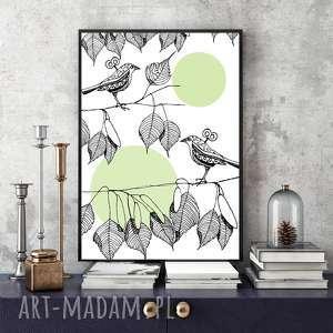 Little birds art print a4 parallel world plakat, ilustracja