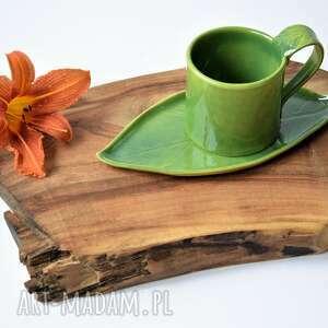 ręcznie wykonane ceramika lepiony kubek ceramiczny z podstawką liść