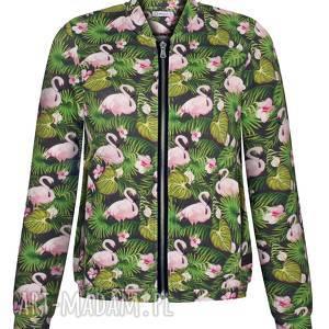 bomberka damska w liście i flamingi, wiosenna bluza, lekka kurtka dzianinowa