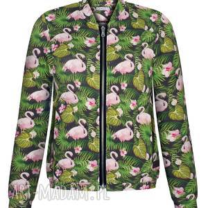 Bomberka damska w liście i flamingi, wiosenna bluza, lekka