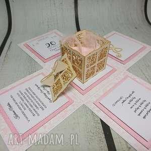 Exploding box / eksplodujące pudełeczko w różu z pudełeczkiem, komunia, chrzest