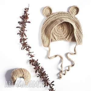 czapka miś bawełniana dziecięca, czapka, bawełniana, wiązana, miękka