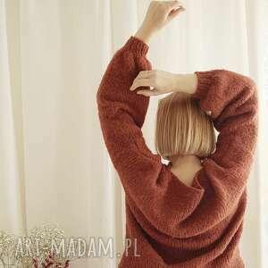 swetry z alpaki i jedwabiu - rdzawy sweter, wełniany, naturalny, rdza