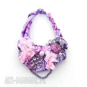 bossanova naszyjnik handmade, naszyjnik, kolia, różowy, fioletowy, kwiaty, kolorowy