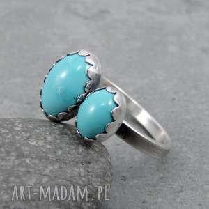 twins ring - double turquoise, oryginalny, podwójny, owal, boho, pastelowy, turkus