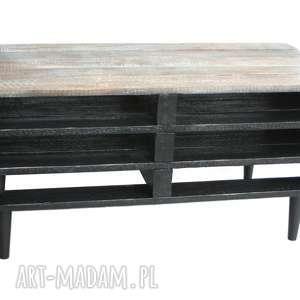 szafka, stolik, szafka pod rtv, drewniana, czarna