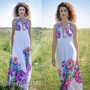 ręcznie wykonane sukienki felicja - biała suknia w kwiaty