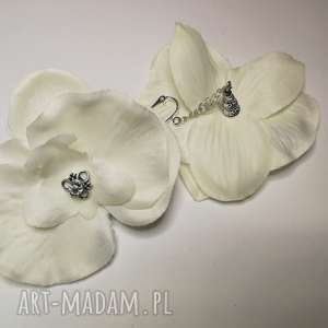 kwiaty klipsy białe lekkie storczyki, kwiaty, slub, storczyk, komunia,
