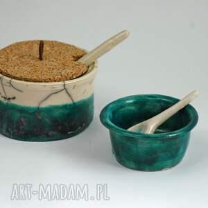 cukiernica i solnica pojemniki ceramika raku łyżeczki, cukiernica, raku