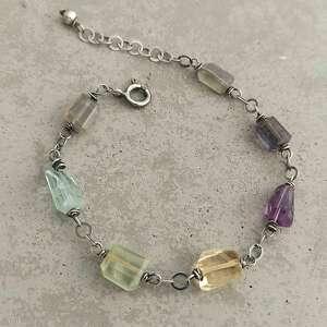 hand-made kolorowe minerały - srebrna bransoletka