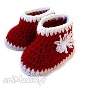 hand made buciki kozaczki szydełkowe ze śnieżynką