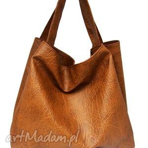 hand-made na ramię pojemna torba karmelowa z tłoczeniem