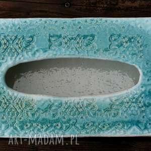 Chustecznik pastelowy błękit, chustecznik, chusteczki, pojemnik, ceramiczny