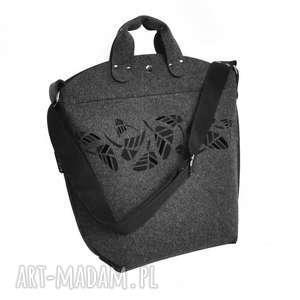 Torebka Biggest Bag - grawerowane liście grafitowa, filc, filcowa