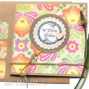 Kartka ślubna:: handmade:: folk kartki kaktusia ślub